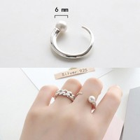 Jewelry Stylish New Arrival Gift 925 Silver Pearls Shiny Korean Accessory Ring [8380578503]