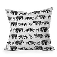 Sharon Turner Graphic Zoo Throw Pillow