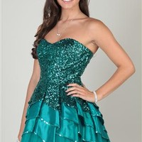 Sequin Strapless Dress with Tulip Skirt and Sequin and Tulle Trim