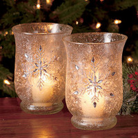 Sets of 2 Frosted Glass Jeweled Hurricanes