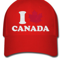 I LOVE CANADA EMBROIDERY HAT  - Flexfit Baseball Cap