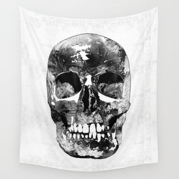 Black And White Skull by Sharon Cummings Wall Tapestry by Sharon Cummings