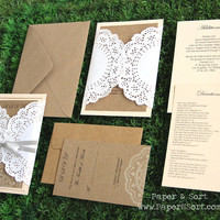 Romantic Rustic Southern Wedding Invitation Suite with Doily - Invite, RSVP, Inserts, Ribbon - Sample Set