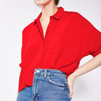 Red Short Sleeve Roll Up Shirt | Topshop
