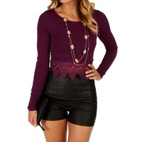 Sale-purple Crochet Trim Crop Top