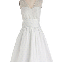 ModCloth Vintage Inspired Long Sleeveless Fit & Flare Professionally Posh Dress in Dots