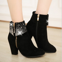 Round head zipper high-heeled boots