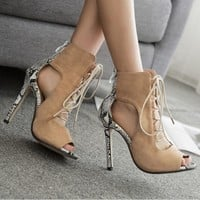 Strappy Women Fashion Peep Toe High Heels Shoes