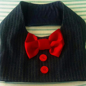 Dog Vest  Denim Pinstripe  Small Yorkie chihuahua only two available