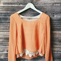 Kaylee Crochet Hem Bell Sleeve Top (Orange)