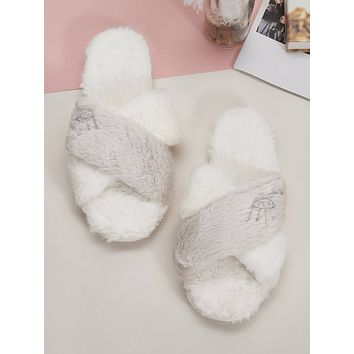 Embroidered Detail Open Toe Slippers