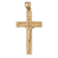 14K GOLD RELIGIOUS CHARM - CRUCIFIX #8440