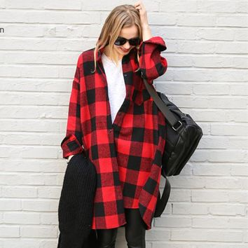 Women's Fashion Plaid Long Sleeve Shirt [280546377769]