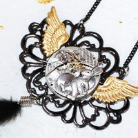 Alice in Wonderland High End Luxury Steampunk Necklace - 113 years old Stunning Waltham Silver Antique Vintage Pocket Watch Movement with Crossboard Guilloche Etched Motif & 17 Rubies - Alice in Wonderland's White Rabbit Wings Black Feather