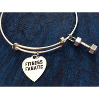 Fitness Fanatic with Weight Charm Word Quote on Expandable Adjustable Wire Bangle Bracelet Trainer Gift