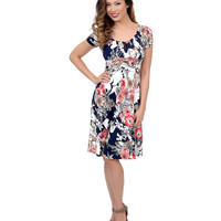 Navy Blue & White Floral Short Sleeve Flare Dress