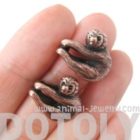 Realistic Baby Sloth Dangling Animal Themed Stud Earrings in Copper