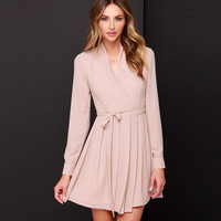 V-neck Long Sleeve Pleated Mini Dress