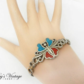 Silver Butterfly Cuff Bracelet with Crushed Turquoise and Coral Inlay, Vintage Silver Native American Cuff Bracelet