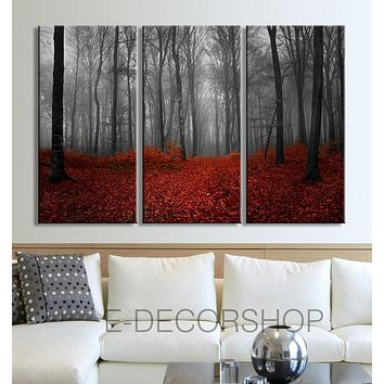 Large Wall Art Canvas Print Autumn in the Forest 3 Panel Wall Art Print Ready to Hang Red