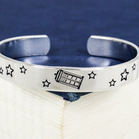 Tardis Bracelet - Doctor Who - Adjustable Aluminum Bracelet