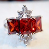 eBlueJay: Ornate Victorian Style Garnet Ring Gothic size 8 18k Gold Plated