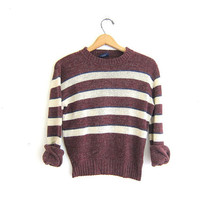 vintage striped sweater. crewneck pullover sweater.