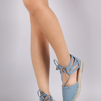 Bamboo Denim Ankle Cuff Lace Up Espadrille Flat