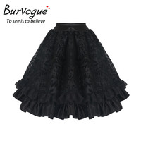 Burvogue New Black Midi Steampunk Skirts for Women Elegant Tulle Skirt Summer Gothic Pleated Fluffy Lace Corset Tutu Mini Skirt
