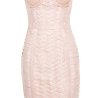 Clothing : Bodycon Dresses : 'Malone' Champagne Strap Elastic Bustier Dress