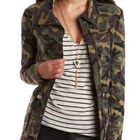 Camo Print Utility Jacket by Charlotte Russe - Green Combo