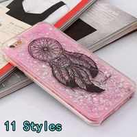 Luxury case for apple iphone 6 6S 6Plus Hard Liquid Quicksand Bling Glitter wind chimes pink back cover for iphone 6S 6S Plus