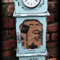 Shabby chic jewelry box grandfather clock, Distressed jewelry box, shabby chic clock, rustic jewelry box, blue jewelry box,  rustic clock