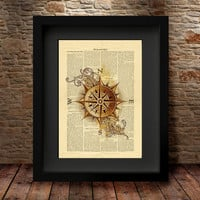 Compass Rose Map Illustration, Compass Old Map, Cartographers Map, Compass Rose Silhouette Art print, Colourful Silhouette, Hipster Art -24