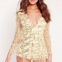 Missguided - Sequin Long Sleeve Plunge Playsuit Gold