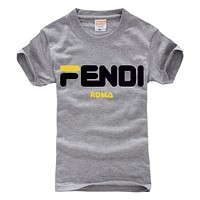 Fendi tide brand men and women high quality cotton comfortable short-sleeved T-shirt (large) Grey