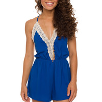 Love Quest Lace Romper - Blue