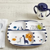 """Navy """"You are Loved"""" Feeding Plate & Sippy Cup"""