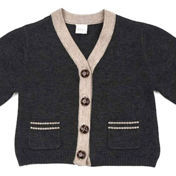 EGG Baby Charcoal Knit Infant Cardigan 6-12 months