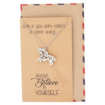 Coleen Gifts for Graduation Origami Unicorn Necklace Inspirational Jewelry