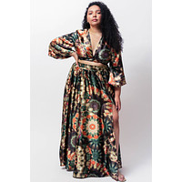 Amiyah Wrap Crop Top and Maxi Swing Skirt Two Piece Set by LUVMEMORE