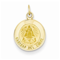14k Yellow Gold Our Lady of Cuba Medal Pendant