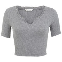 Lace Trim Notch Crop - Tops - Apparel