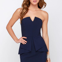 Just Watch Navy Blue Strapless Dress