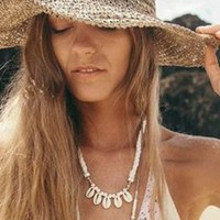 COCONUT COWRIE SHELL NECKLACE - TAN OR WHITE