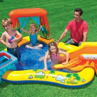 """Intex Dinosaur Inflatable Play Center, 98"""" X 75"""" X 43"""", for Ages 2+"""