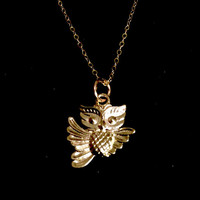 Adorable 14k Gold Filled Owl Necklace from Tickle Bug Jewelry