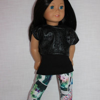 18 inch doll clothes, black tank top, black leather look cropped tee, puppy snapshot black and white leggings, Upbeat petites