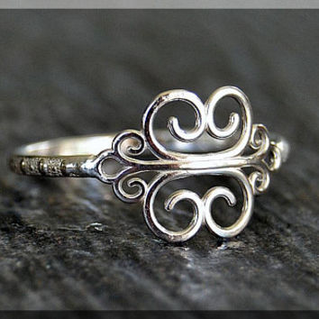 Sterling Silver Scroll Stacking Ring, Stacking Jewelry, Scroll Jewelry, Elegant Ring, Dainty Ring, Open Scroll Statement ring