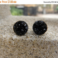 MONSTER SALE Earrings Druzy Stud Earrings Boho Jewelry Black 10MM